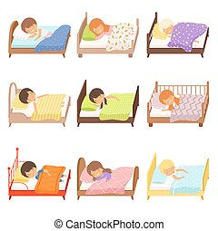 Collection of Cute Little Boys and Girls Sleeping Sweetly in their Beds under Blankets Vector Illustration