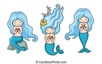 Collection of cute little mermaids with blue hair in different poses.