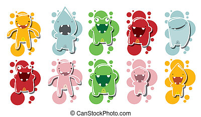 Collection of cute monsters