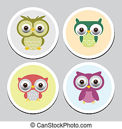Collection of cute owls