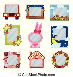 Collection of cute photo frames for boys and girls, album templates for kids with space for photo or text, card, picture frames vector Illustration on a white background