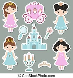 Collection of cute princess stickers.
