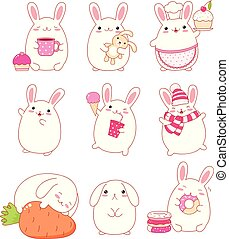 Collection of cute rabbits