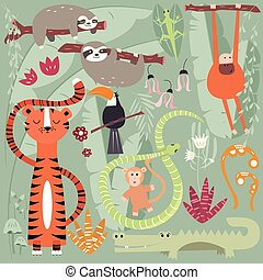 Collection of cute rain forest animals, tiger, snake, sloth, monkey