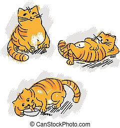 Collection of cute red cat vector set