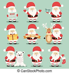 Collection of cute Santa Claus characters with reindeer, bear and gifts