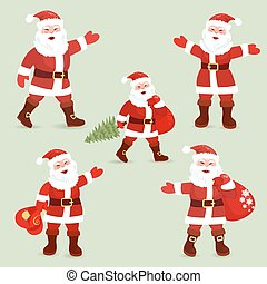 Collection of cute Santa Clauses for your design