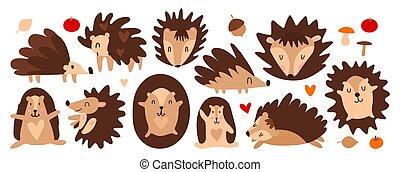 Collection of cute scandinavian hedgehogs. Printing on children's textiles, decorating a children's room, designing goods for children. Vector illustration of funny cartoon hedgehogs set. Hedgehog sleeps, runs, smiles.