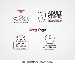 Collection of cute Sex shop logo and badge design templates....