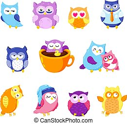 Collection of cute vector owls. Cartoon characters.