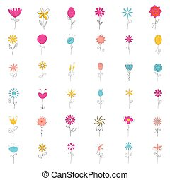 Collection of cute vector spring flowers