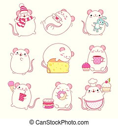 Collection of cute white rats in kawaii style