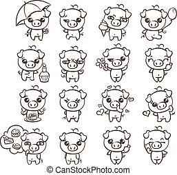 Collection of cutest pig character icon set with different emotions. Vector illustration for new 2019 year.