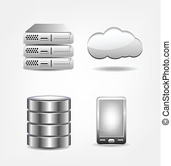 Collection of database icons. Clip-art, Illustration.