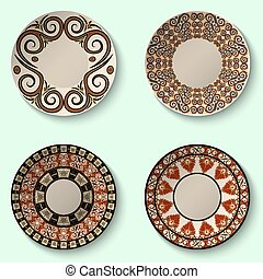 Collection of decorative ceramic dishes with ancient ornament.