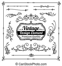 Collection of decorative vintage and classic design element