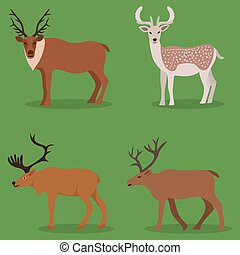 Collection of deer in a flat design