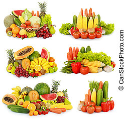 fruits and vegetables isolated on w