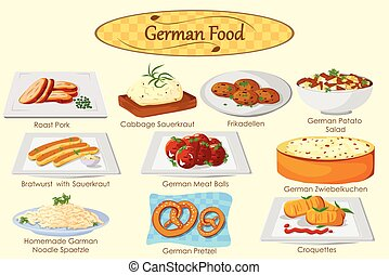 Collection of delicious German food in vector