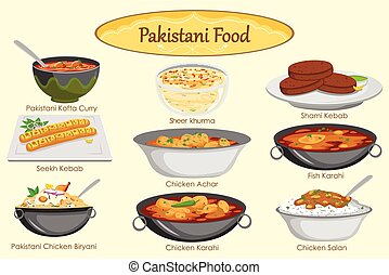 Collection of delicious Pakistani food in vector