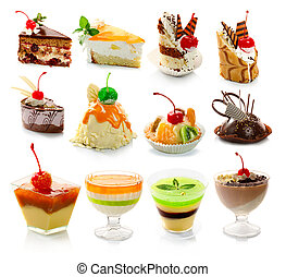 Collection of delicous dessert isolated on white background