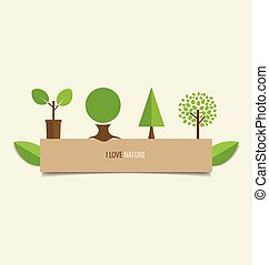 Collection of design tree. Vector illustration.