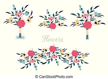Collection of detailed drawings of trendy floristic flowers and decorative flowering plants isolated on white background.