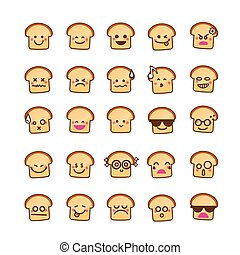 Collection of difference emoticon icon of Bread icon on the white background