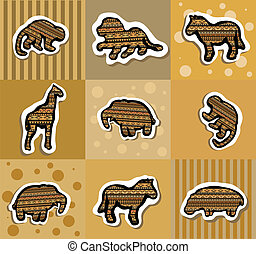 Collection of different african stickers with animals