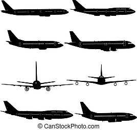 Collection of different aircraft silhouettes. vector illustration
