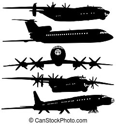Collection of different airplane silhouettes.