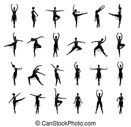 Collection of different ballet pose