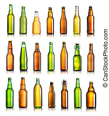 Collection of different beer bottles isolated on white background