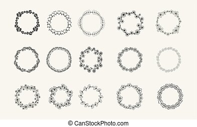 collection of different black and white silhouette circular laurel foliate, olive, wheat and oak wreaths