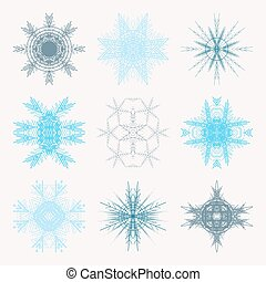 Collection of different blue snowflakes isolated on white background. Winter Frozen Geometric Symbol