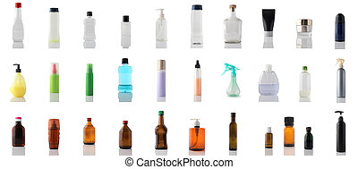 Collection of different bottles and jars isolated on white background. Tara set.