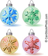 Collection of different Christmas glass balls with snowflakes