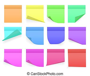 Collection of different colored sheets of note papers with curled corner and shadow, ready for your message. Realistic. Isolated on white background. Set. Vector illustration