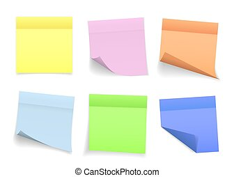 Collection of different colored sheets of note papers with curled corner and shadow, ready for your message. Realistic. Isolated on transparent background. Set. Vector illustration