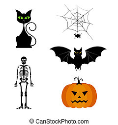 collection of different cute black Halloween silhouettes.