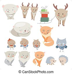 Collection of different forest winter animals. Childish, cute style.