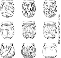 Collection of different glass jars with home made...