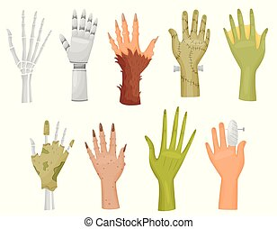 Collection of different hands on white background.