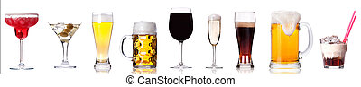 Collection of different images of alcohol isolated on a ...