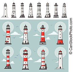 Collection of different lighthouse illustrations