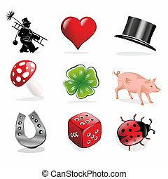 luck charms - collection of different luck charms and...