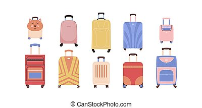 luggage - Collection of different luggage. Suitcases in a ...