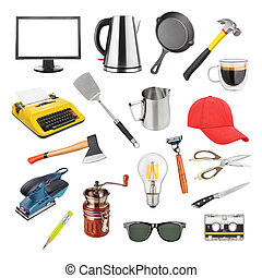 Collection of different objects isolated
