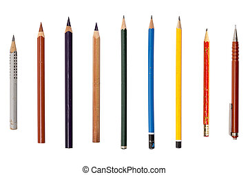 collection of different old used pencils, isolated on white
