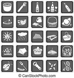picnic squared icons - Collection of different picnic...
